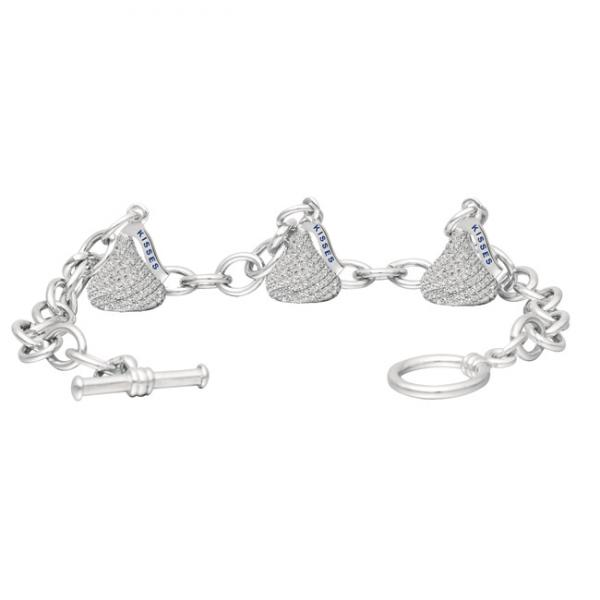 Hershey's Kiss Diamond Toggle Bracelet 3 Charms 14k White Gold 1.50ct