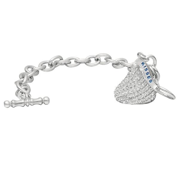 Hershey's Kiss Diamond Toggle Bracelet 1 Charm 14k White Gold (1.15ct)
