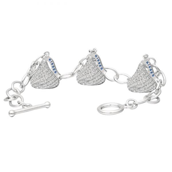 Hershey S Kiss Diamond Toggle Bracelet 3 Charms 14k White Gold 45ct
