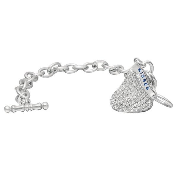 Hershey's Kiss Diamond Toggle Bracelet 1 Charm 14k White Gold (1.60ct)