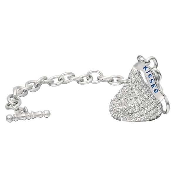 Hershey's Kiss Diamond Toggle Bracelet 1 Charm 14k White Gold (2.25ct)