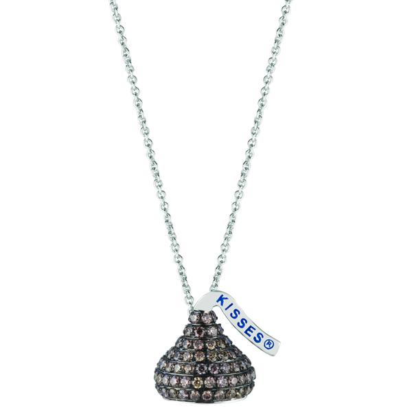 Hershey's Kiss Brown Diamond 3D Pendant 14k White Gold (1.70ct)