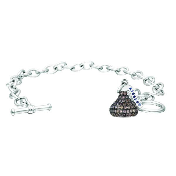 Hershey S Kiss Brown Diamond Toggle Bracelet 14k White Gold