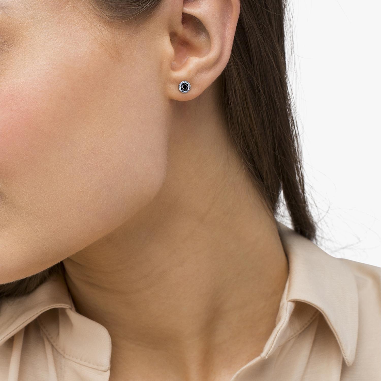 Black & White Diamond Halo Stud Earrings 14k White Gold (0.50ct)
