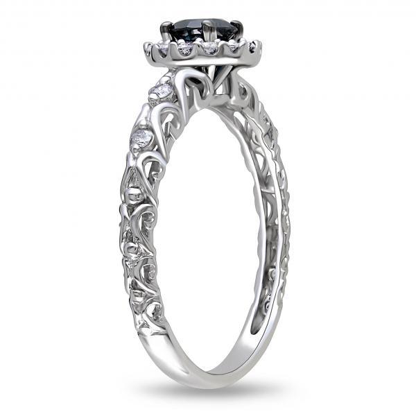 Blue & White Diamond Halo Engagement Ring 14k White Gold (0.50ct)