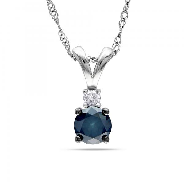 Blue & White Diamond Pendant Necklace 14k White Gold (0.50ct)
