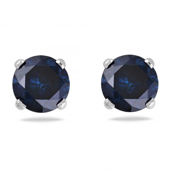 Blue Diamond 4 Prong Stud Earrings 14k White Gold (1.00ct)