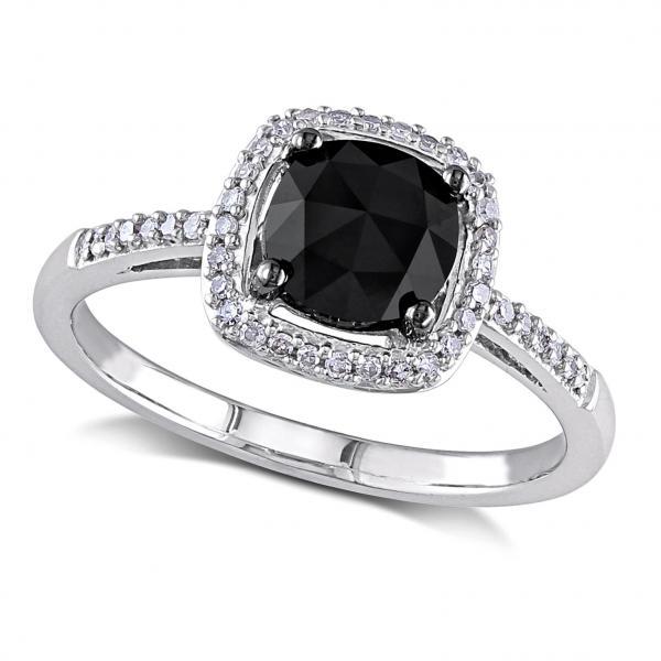 Black & White Diamond Engagement Ring 14k White Gold 1 00ct Allurez