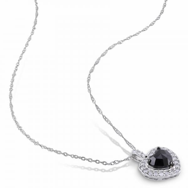 Black & White Diamond Heart Pendant Necklace 14k White Gold 1.00ct