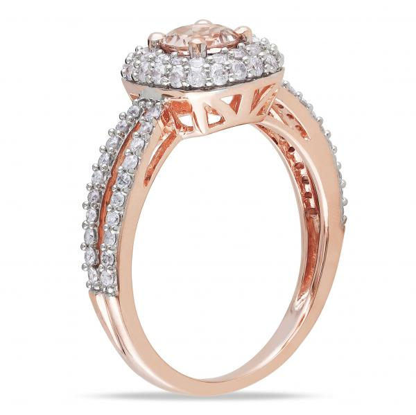 Diamond & Morganite Split Shank Engagement Ring 14k Rose Gold (1.00ct)