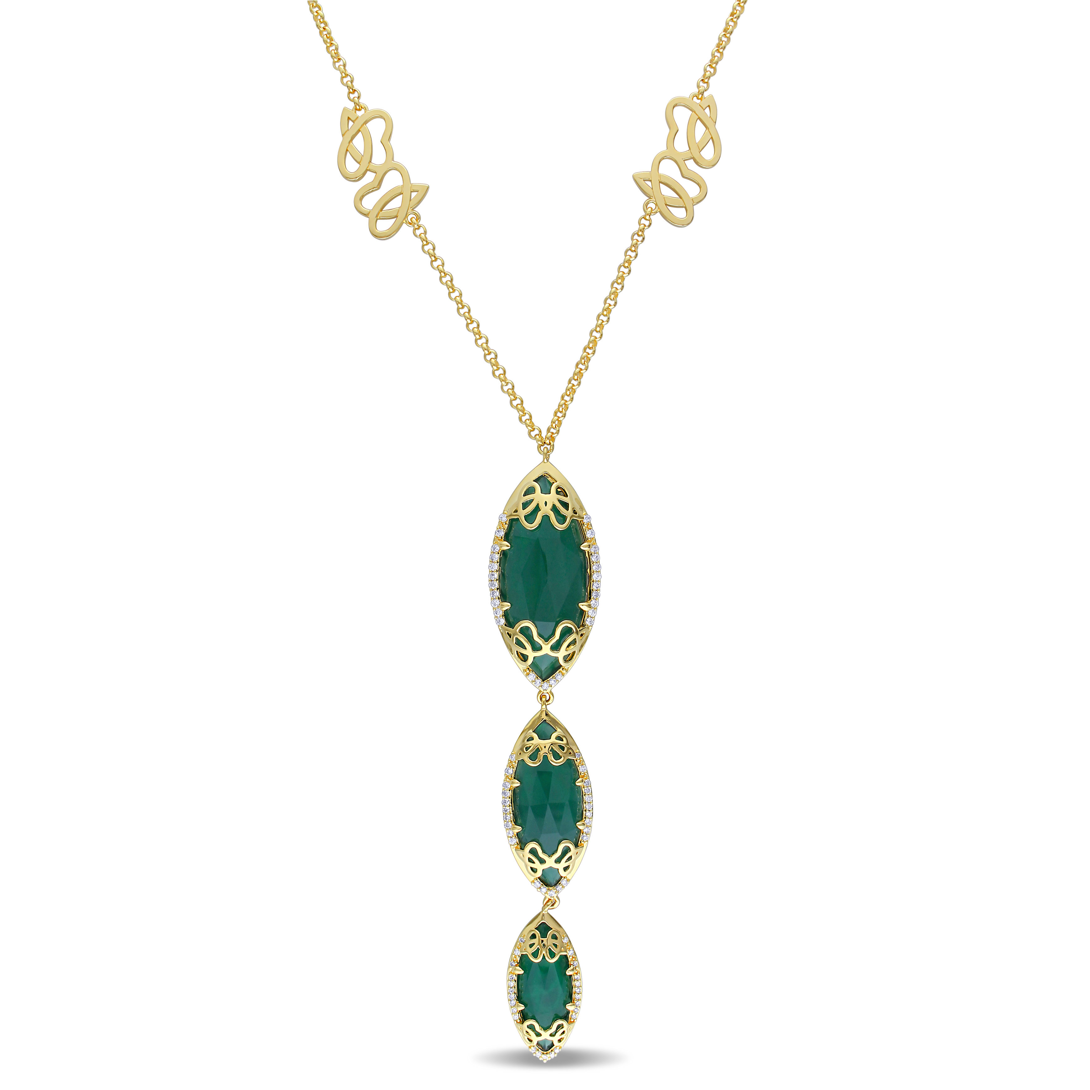 Marquise Green Onyx & Diamond Necklace Yellow Sterling Silver (22.05ct)