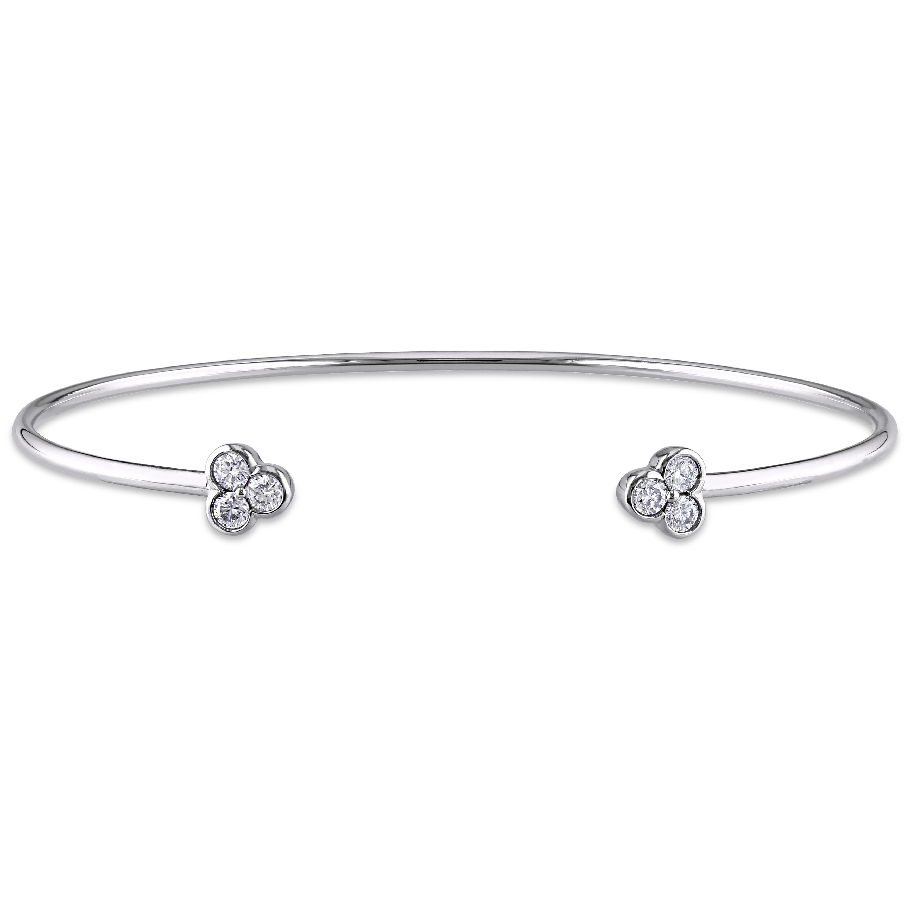 White Gold Cuff Bracelet: Diamond Three Stone Open Cuff Bangle Bracelet 14k White