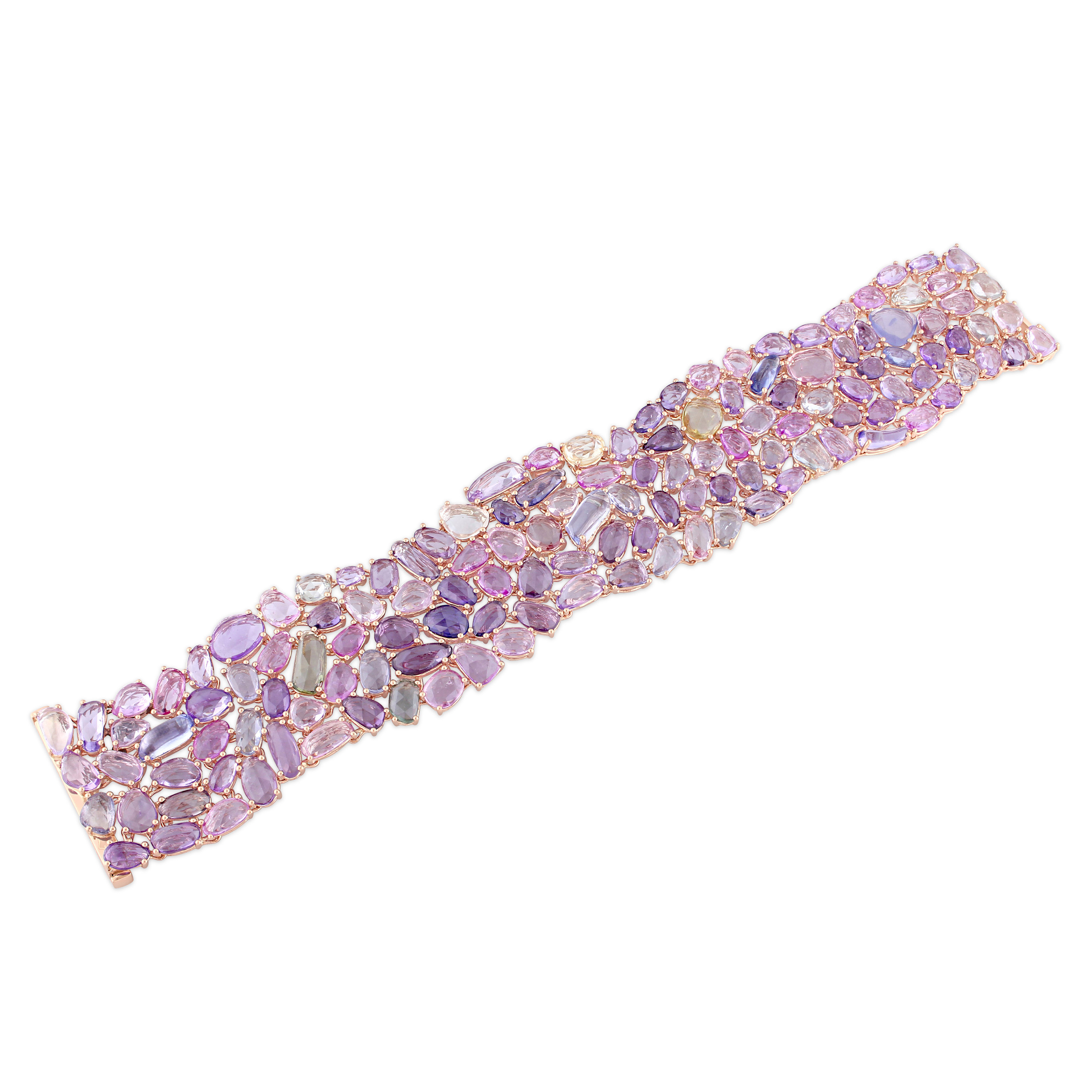 Thick Multicolor Sapphires Bracelet 14k Rose Gold (80.62ct)