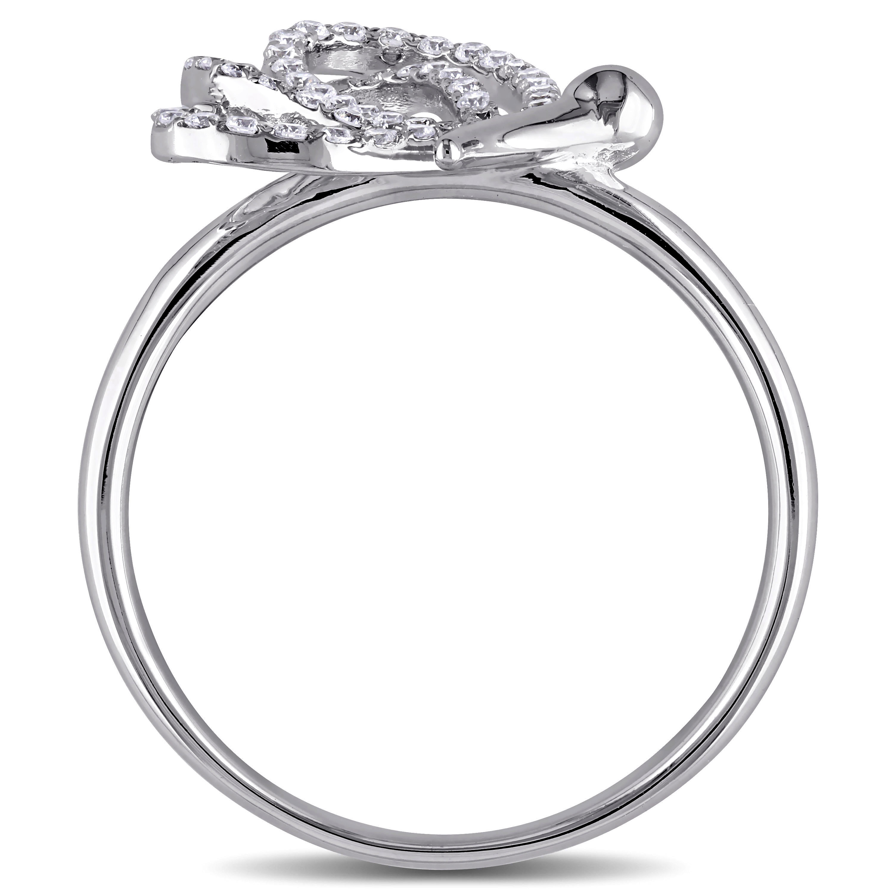 accented dragonfly fashion ring 18k white gold 0 25ct