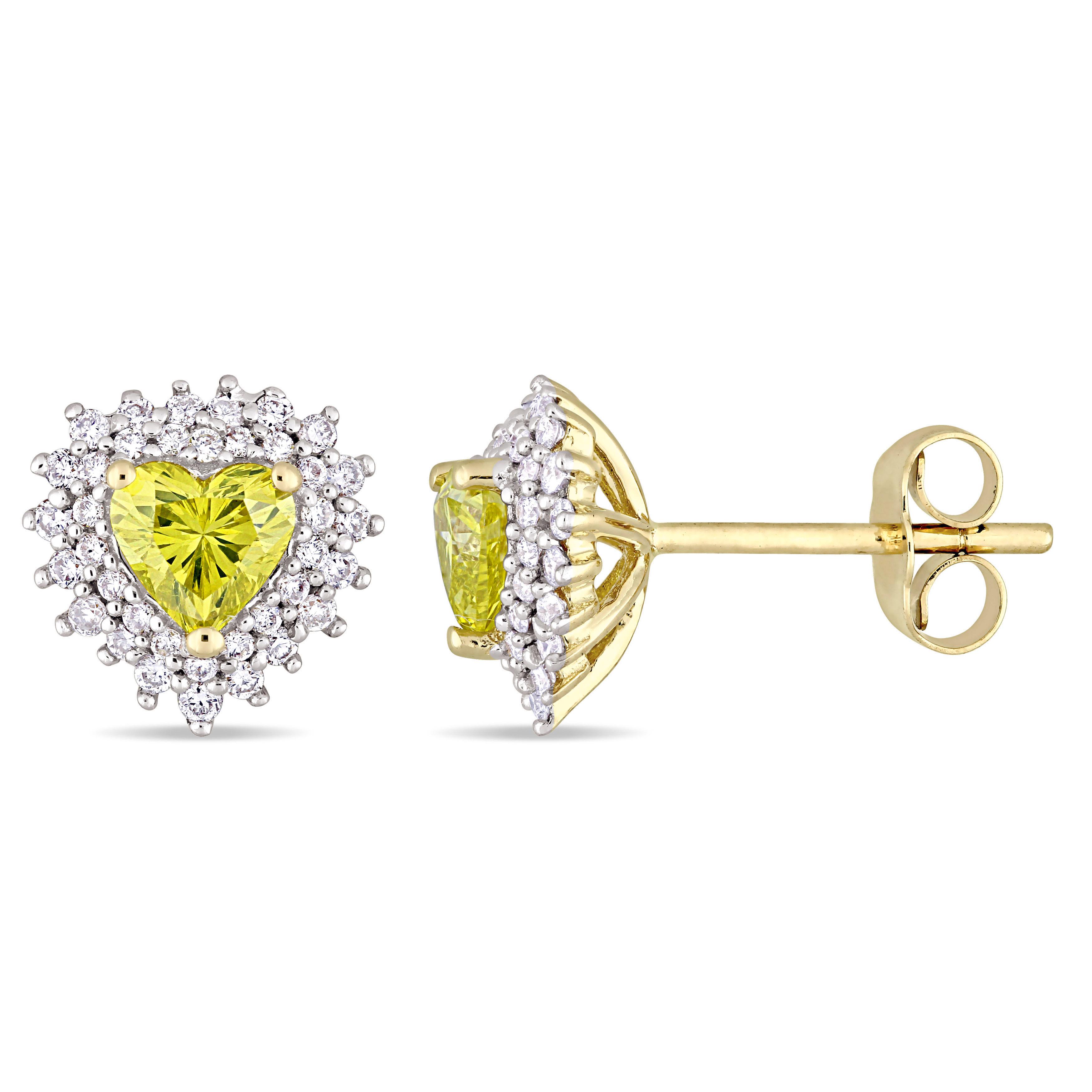 Halo Heart Yellow & White Diamond Earrings 14k Yellow Gold (1.00ct)