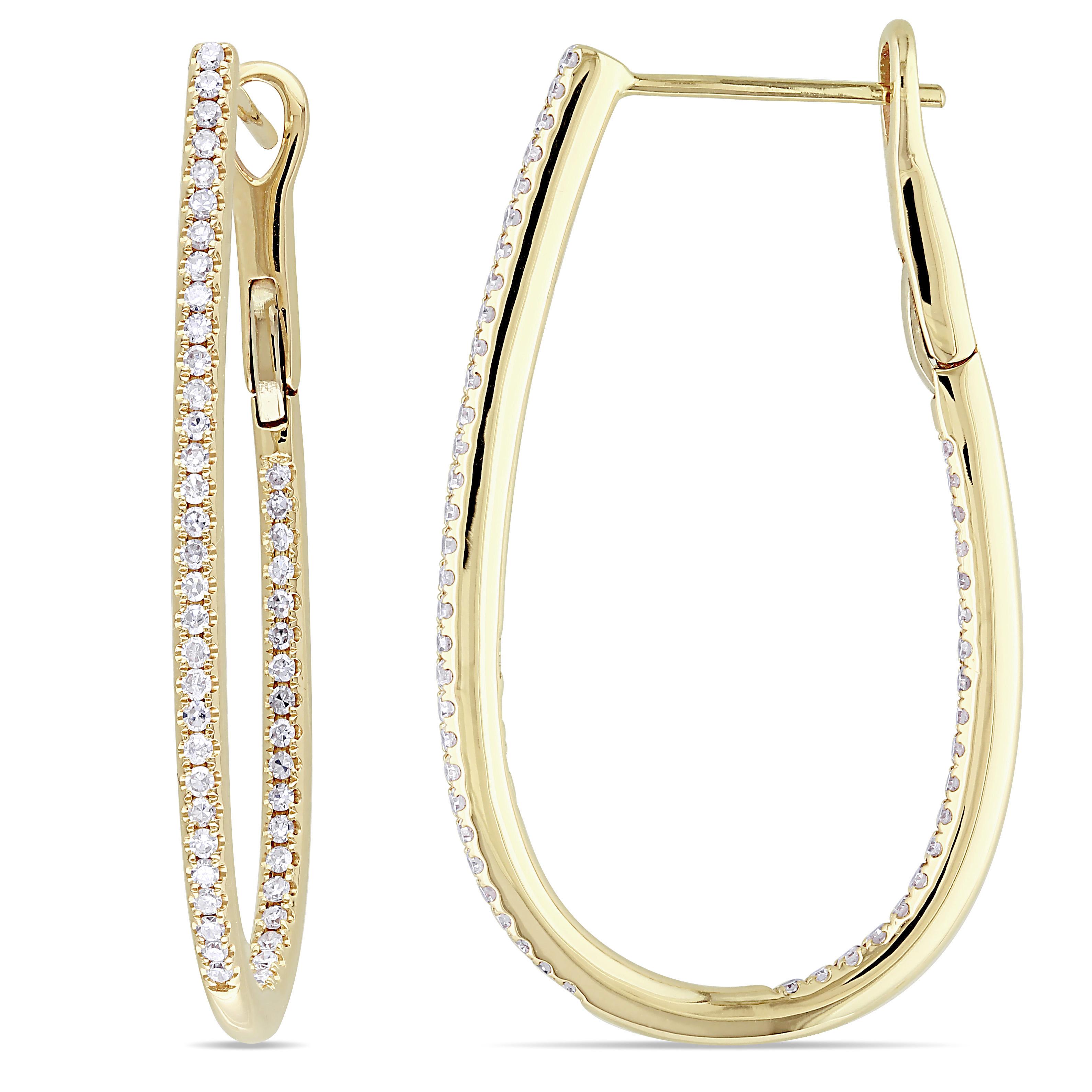 Diamond Loop Cuff Earrings 14k Yellow Gold (0.50ct)