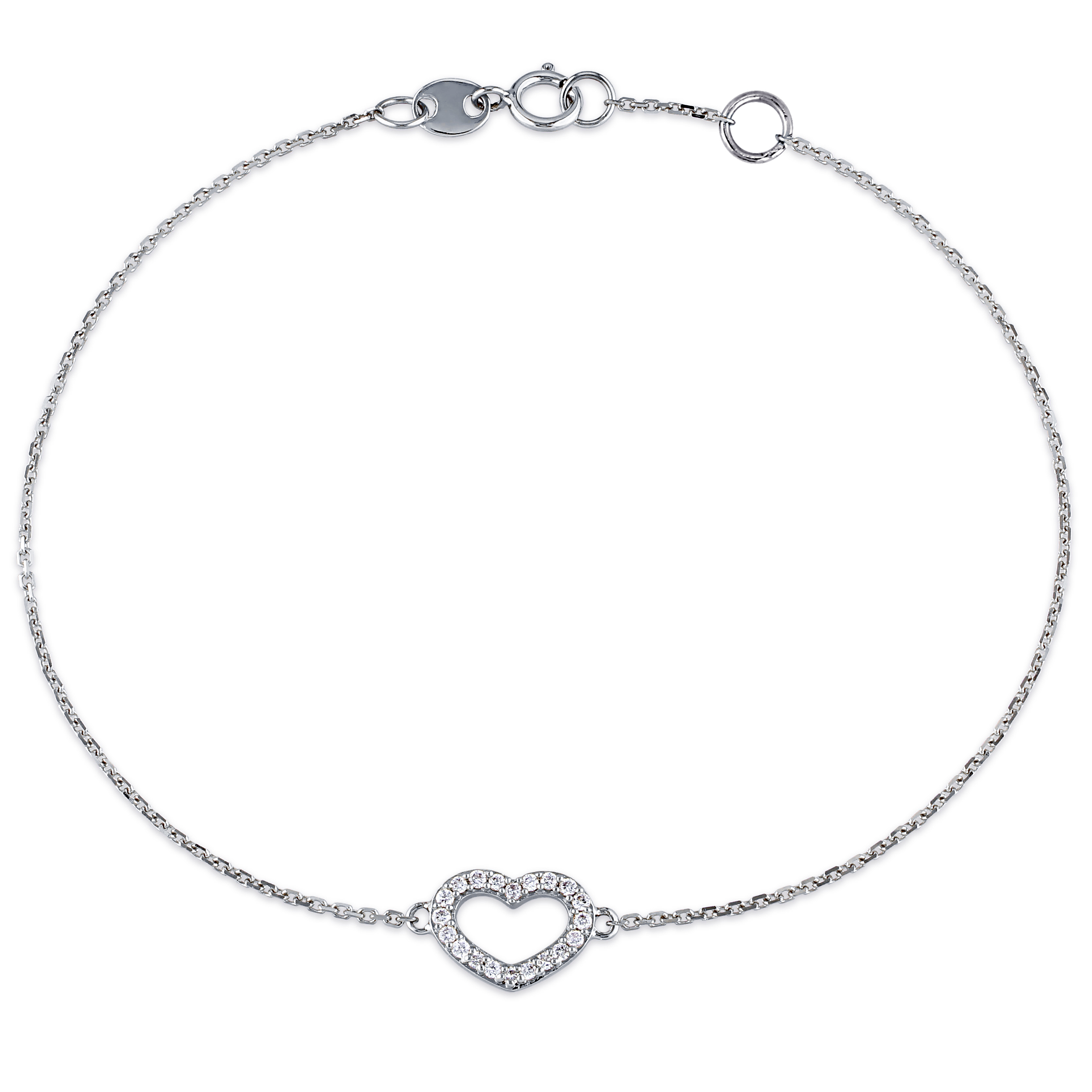 Heart Diamond Adjustable Bracelet 14k White Gold (0.10ct)