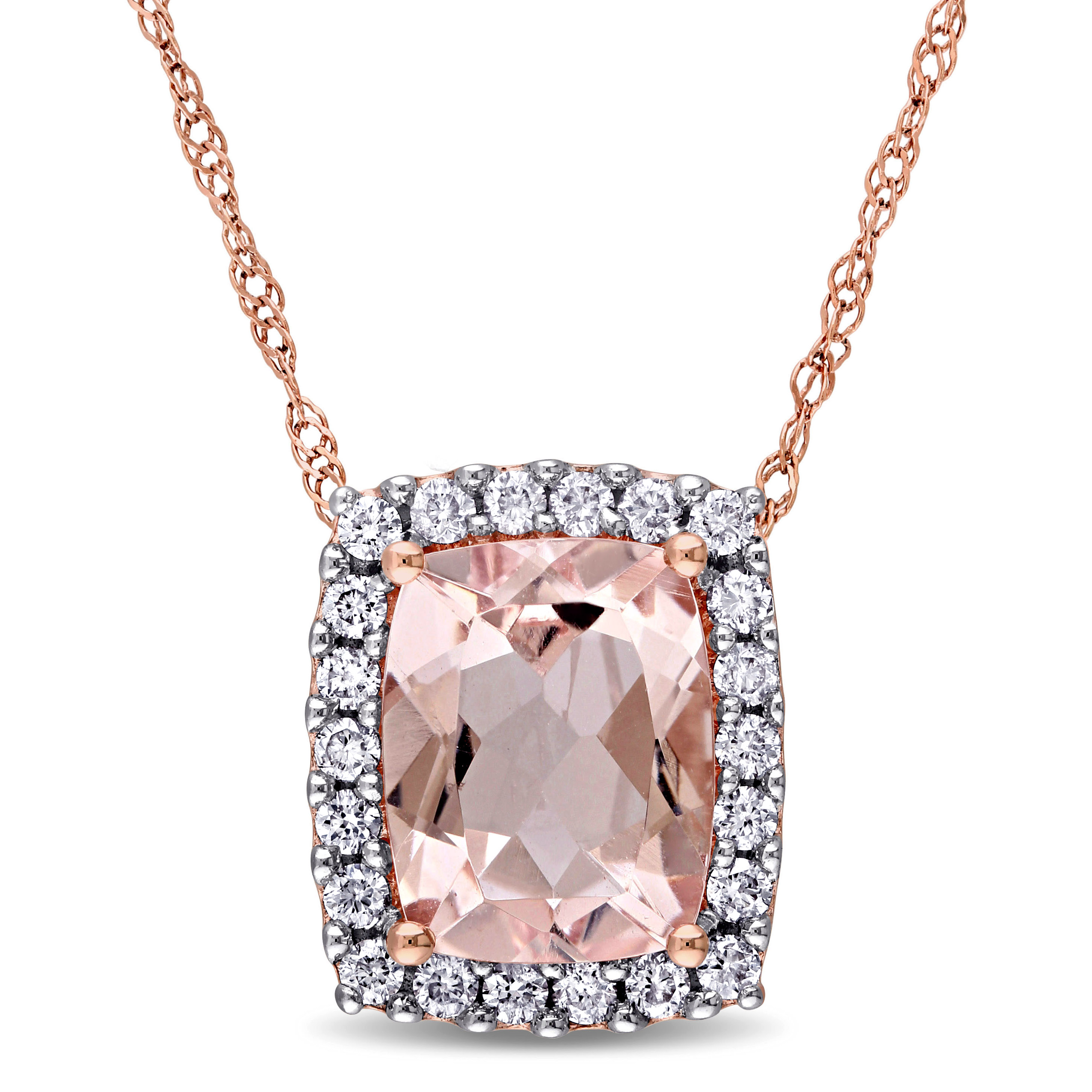 Cushion Morganite & Round Diamond Halo Pendant 14k Rose Gold (2.00ct)
