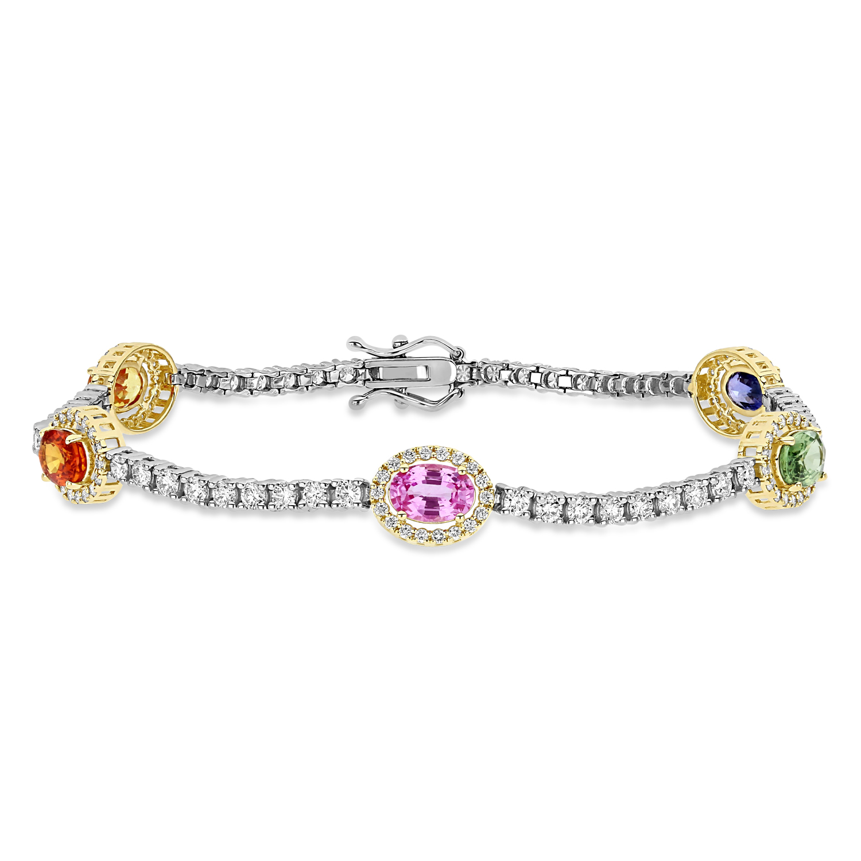 Oval Multi-Color Sapphire & Round Diamond Tennis Bracelet 14k Yellow Gold (5.00 ct)