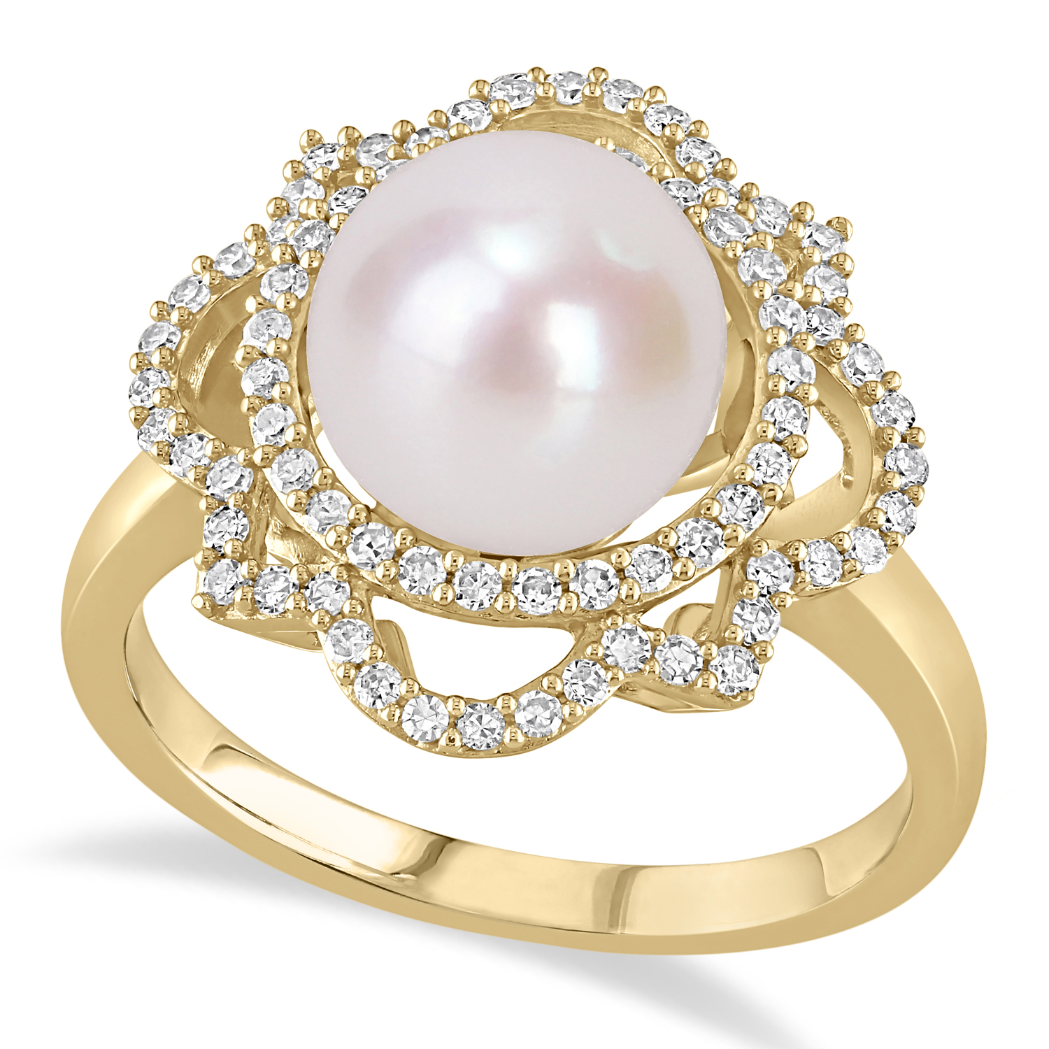 Round Freshwater Cultured White Pearl and Diamond Ring 14k Yellow Gold (0.375 ct)