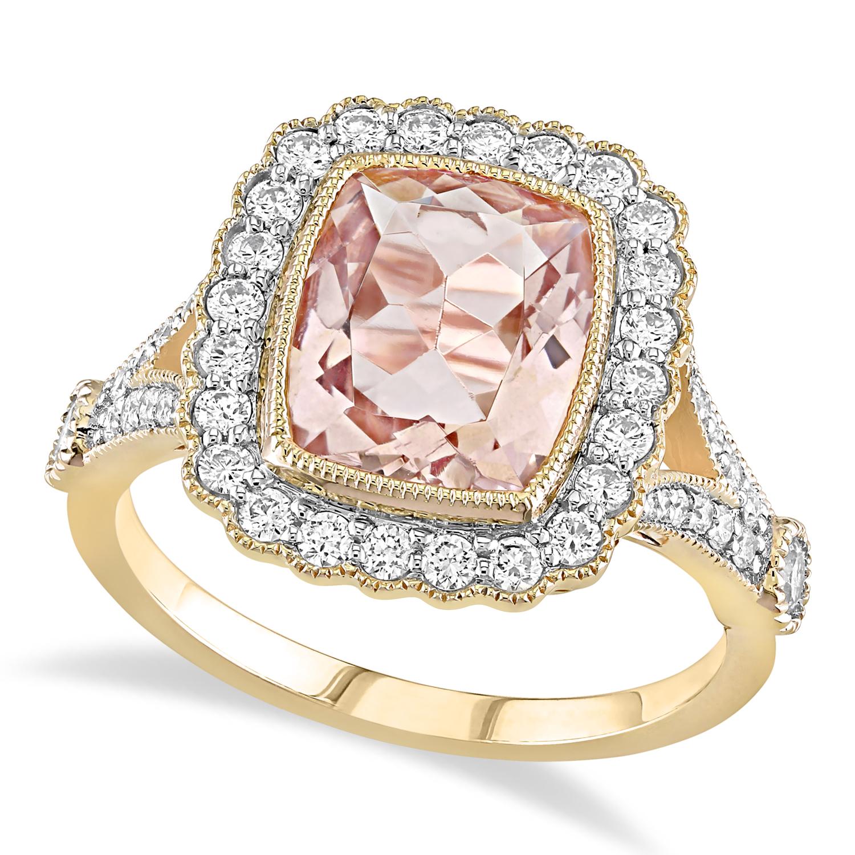 Cushion Morganite, Round White Sapphire and Round Diamond Ring 14k Yellow Gold (3.50 ct )