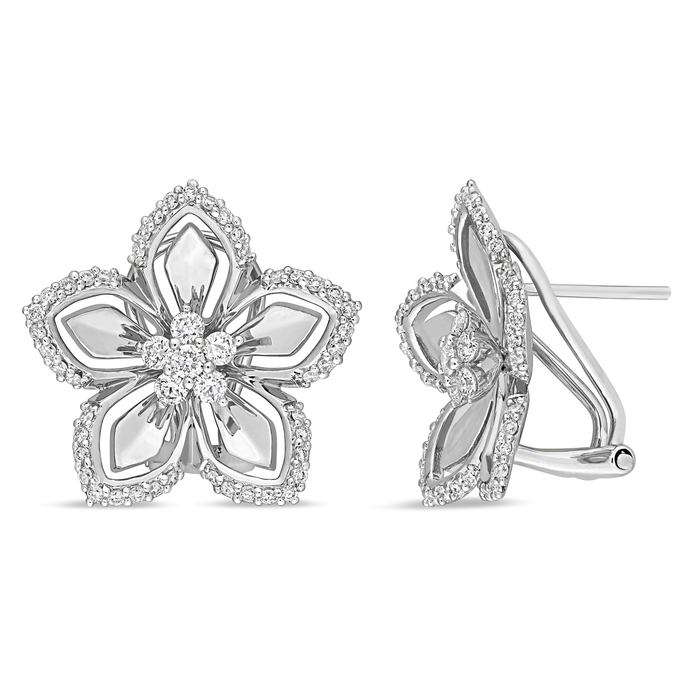 Round Diamond Cuff Earrings 14k White Gold (0.875 ct)