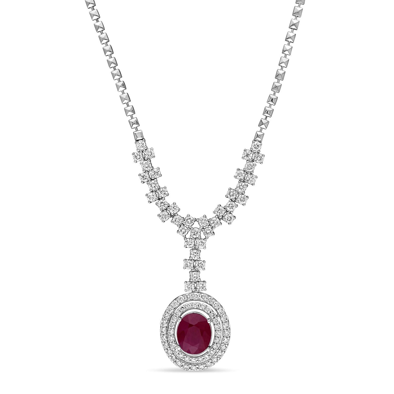 Oval Ruby & Round Diamond Pendant Necklace 14k White Gold (6.50 ct )