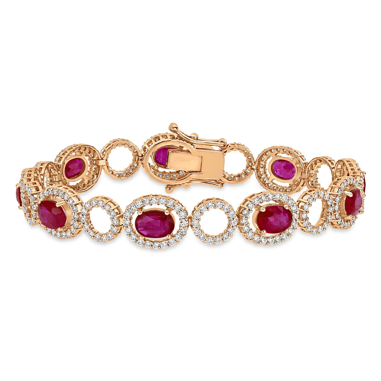 Oval Ruby & Round Diamond Bracelet 18k Rose Gold (12.10 ct)