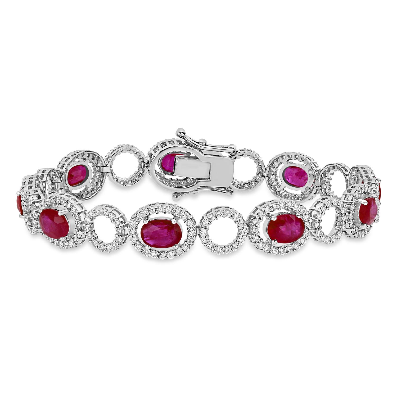 Oval Ruby & Round Diamond Bracelet 18k White Gold (12.10 ct)