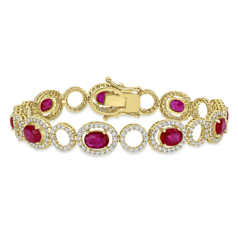 Oval Ruby & Round Diamond Bracelet 18k Yellow Gold (12.10 ct)