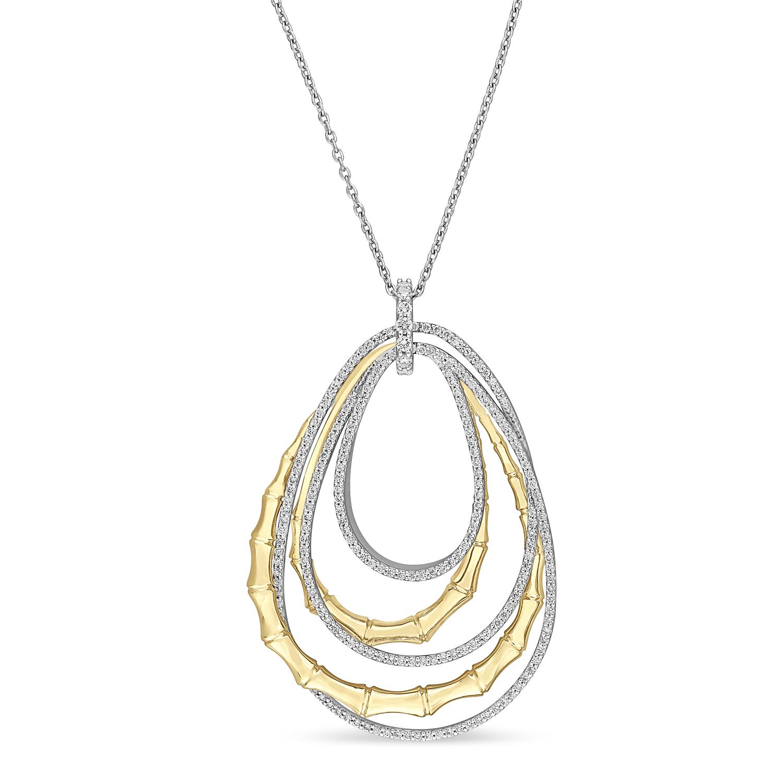 Round Diamond Loop Pendant Necklace 18k Yellow Gold (0.75 ct)