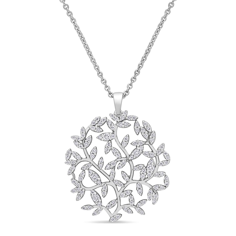 Round Diamond Branch Pendant Necklace 18k White Gold (0.50 ct)