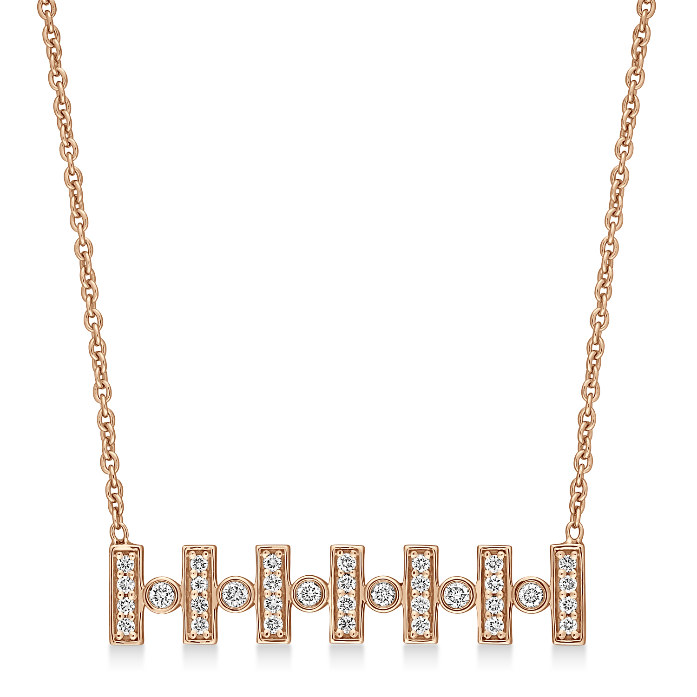 Round Diamond Pattern Necklace 18k Rose Gold (0.30 ct)