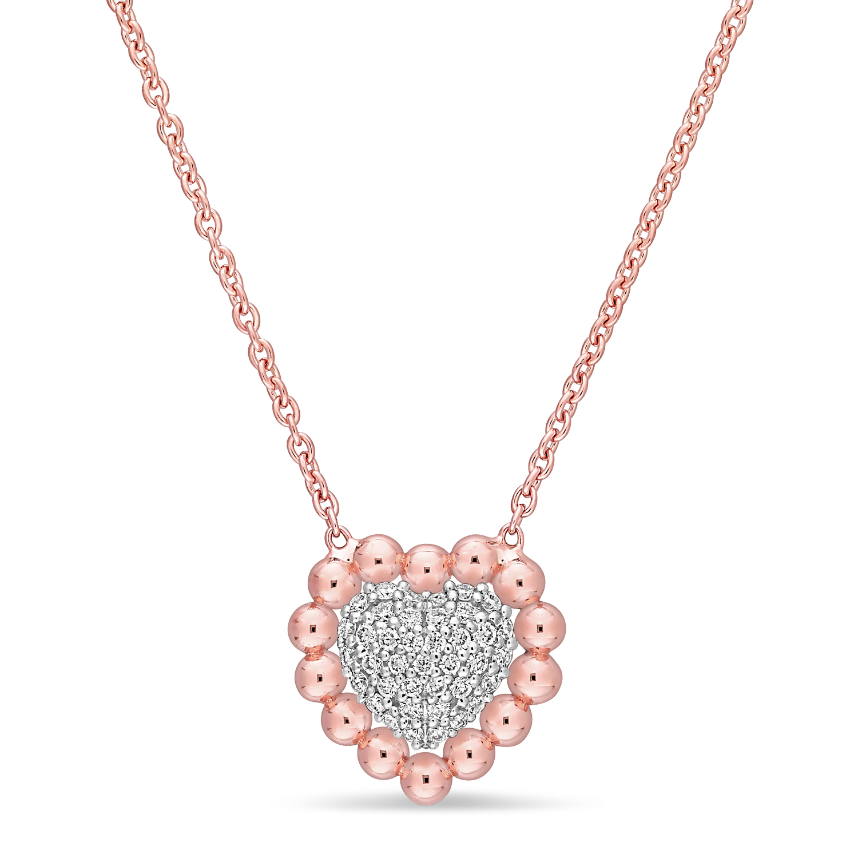 Round Diamond Pendant Necklace 18k Rose Gold (0.14 ct)