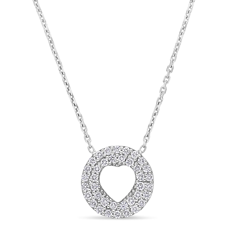 Round Diamond Inverted Heart Pendant Necklace 18k White Gold (0.30 ct)