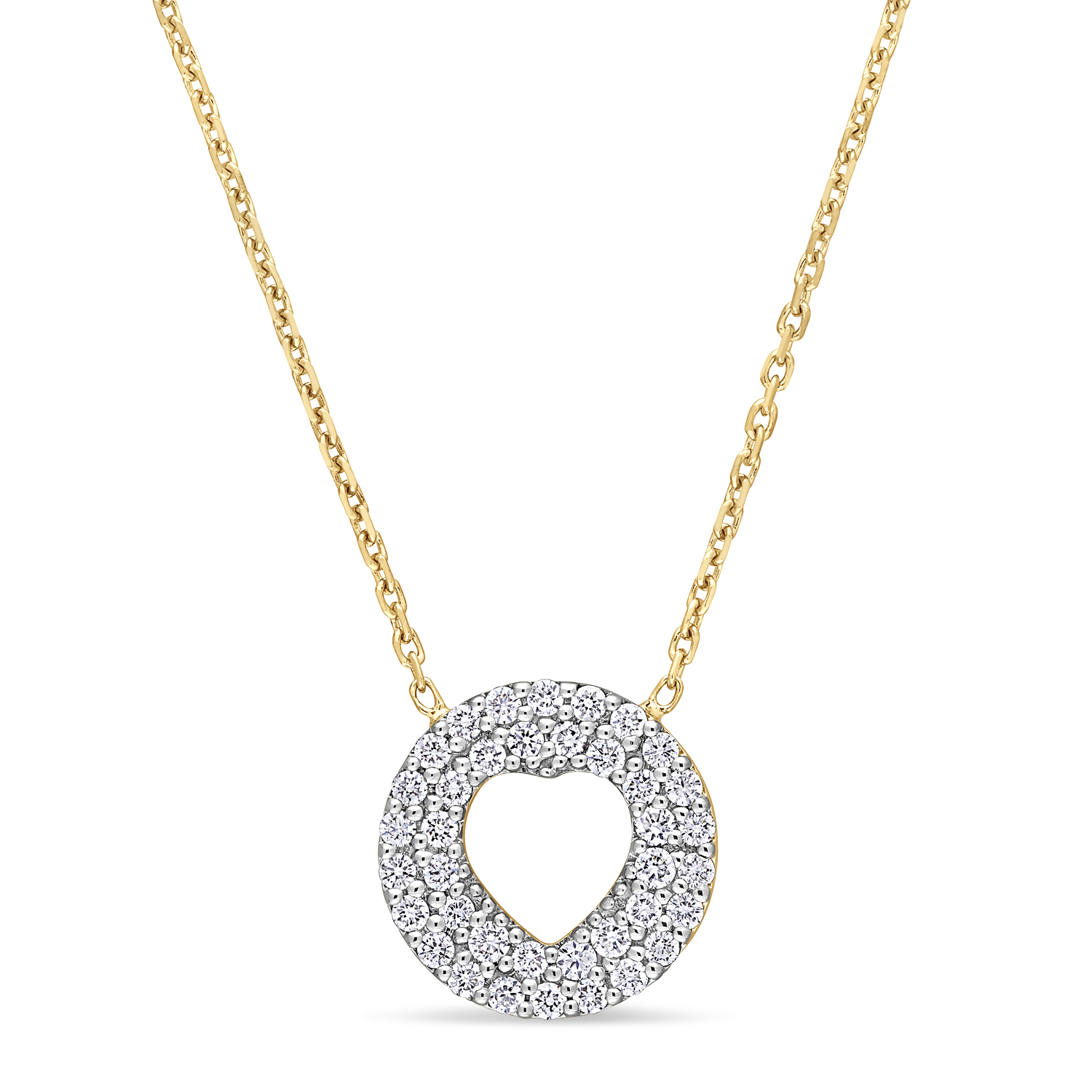 Round Diamond Inverted Heart Pendant Necklace 18k Yellow Gold (0.30 ct)