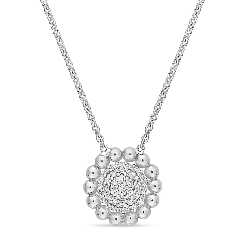 Round Diamond Loop Pendant Necklace 18k White Gold (0.20 ct)