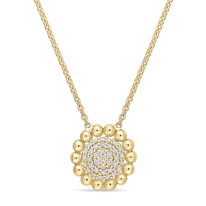 Round Diamond Loop Pendant Necklace 18k Yellow Gold (0.20 ct)