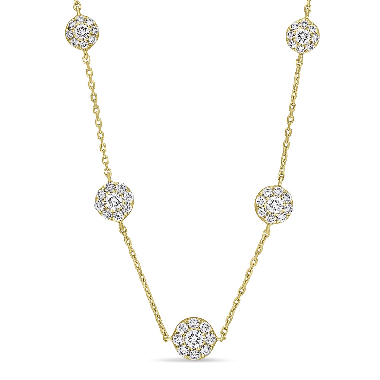 Round Diamond 5-Pendant Necklace 18k Yellow Gold (2.30 ct)