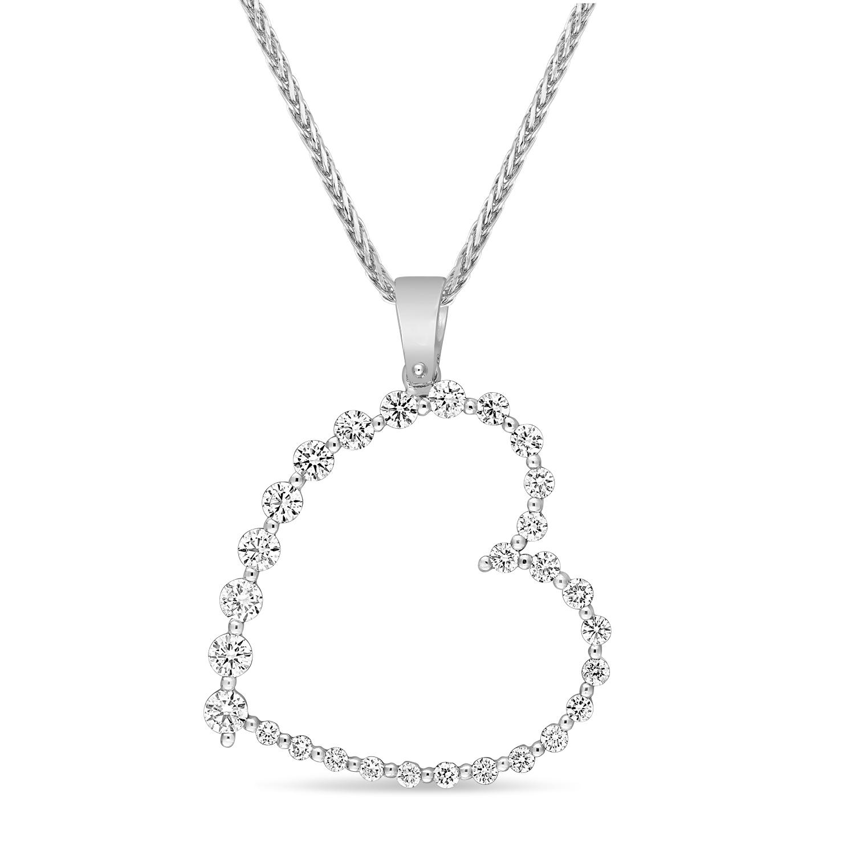 Round Diamond Fashion Pendant 18k White Gold (0.60 ct)
