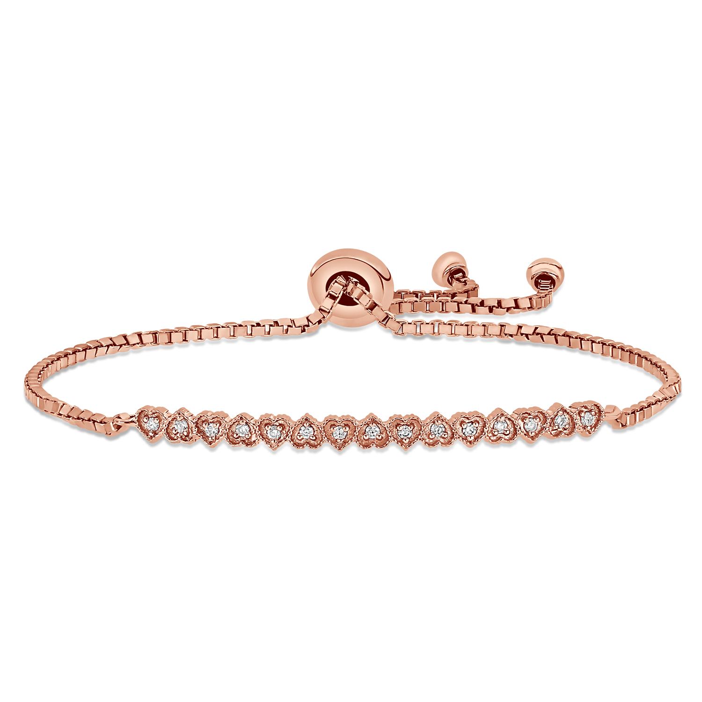 Round Diamond Heart Bracelet 18k Rose Gold (0.10 ct)
