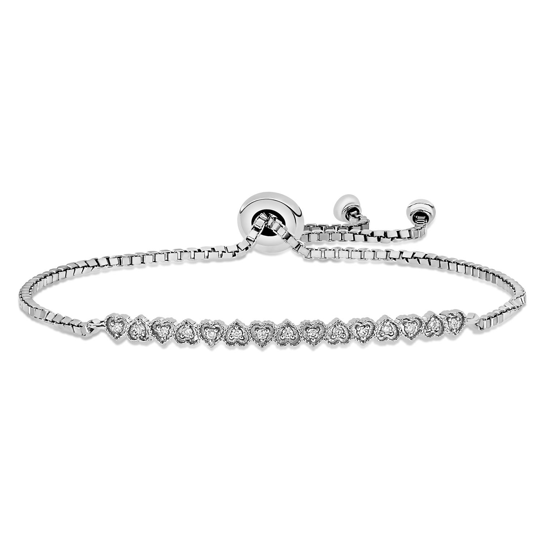 Round Diamond Heart Bracelet 18k White Gold (0.10 ct)