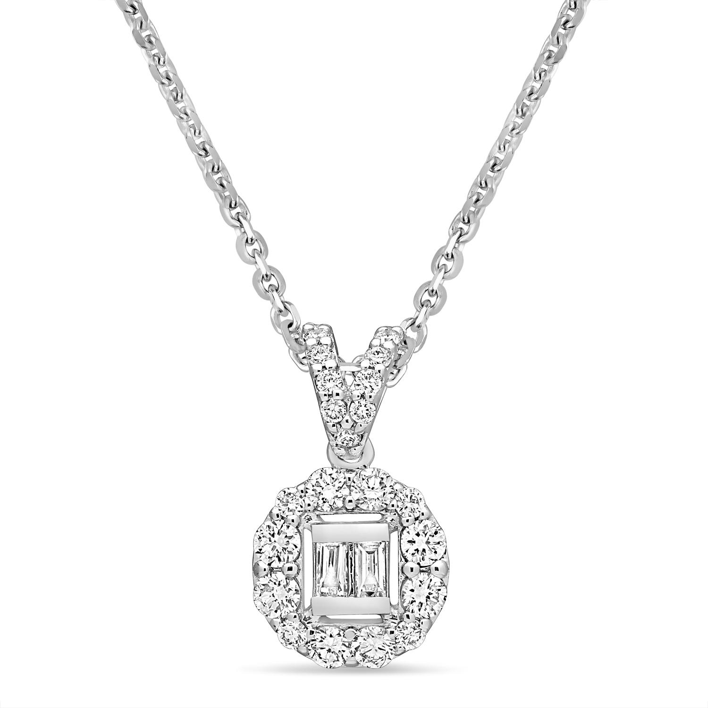 Parallel and Round Diamond Fashion Pendant 18k White Gold (0.30 ct)
