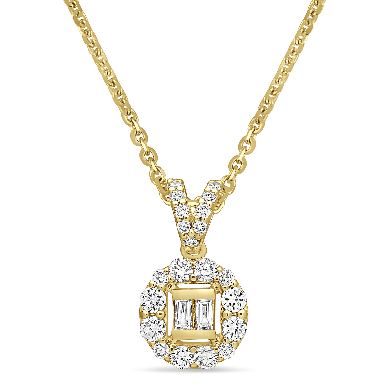 Parallel and Round Diamond Fashion Pendant 18k Yellow Gold (0.30 ct)
