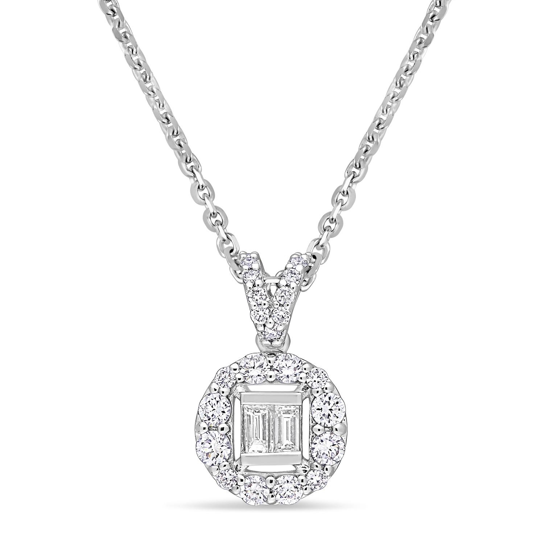 Parallel and Round Diamond Pendant 18k White Gold (0.375 ct)
