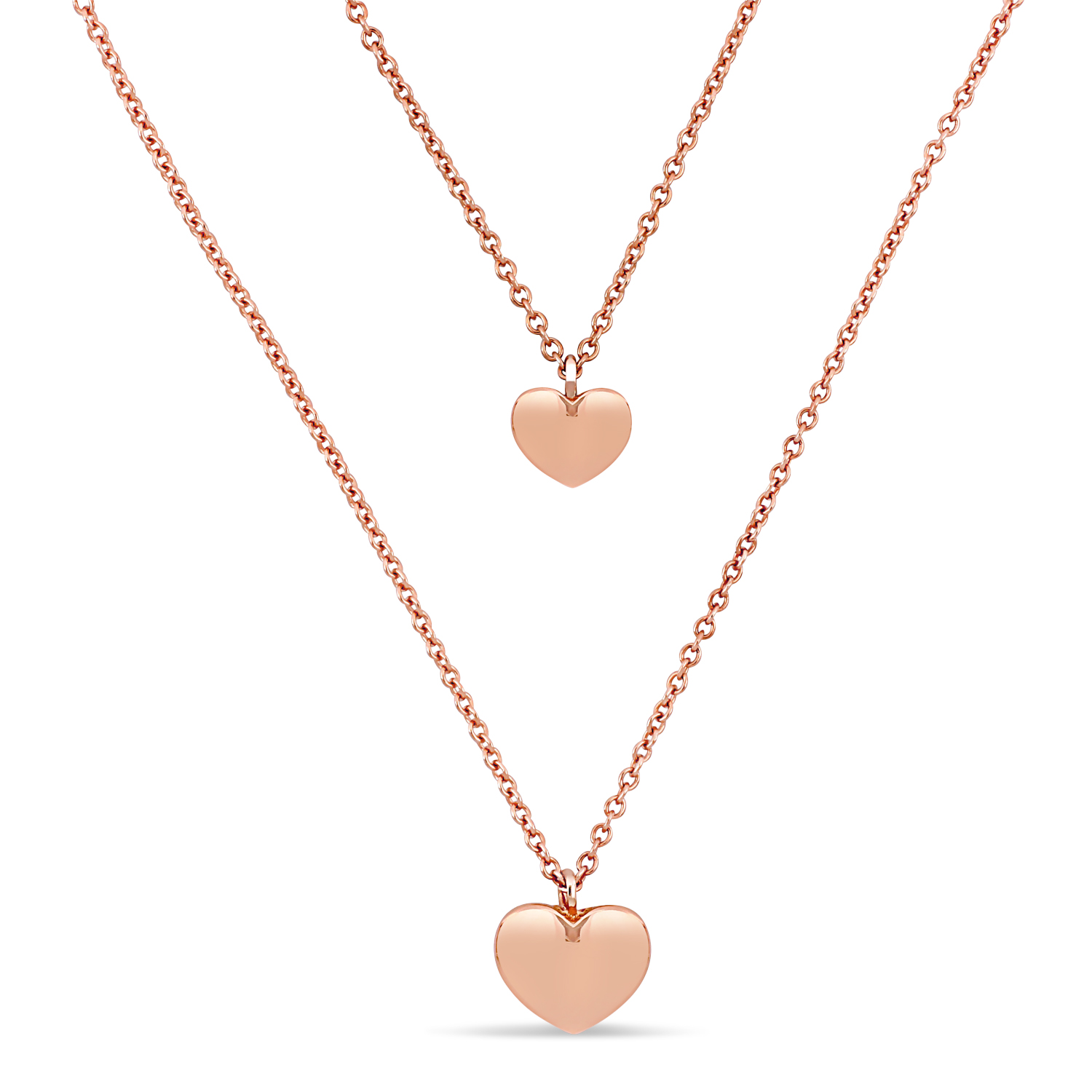 Double Heart Necklace 18k Rose Gold
