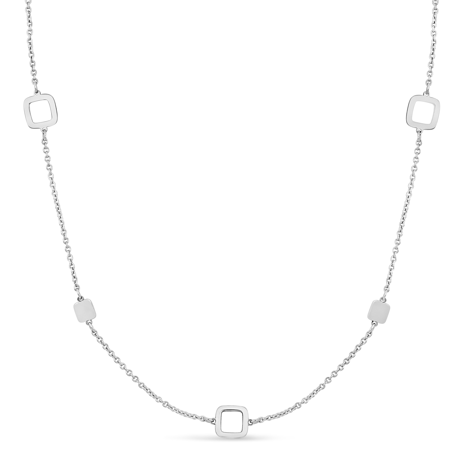 Fancy Squares Necklace 18k White Gold