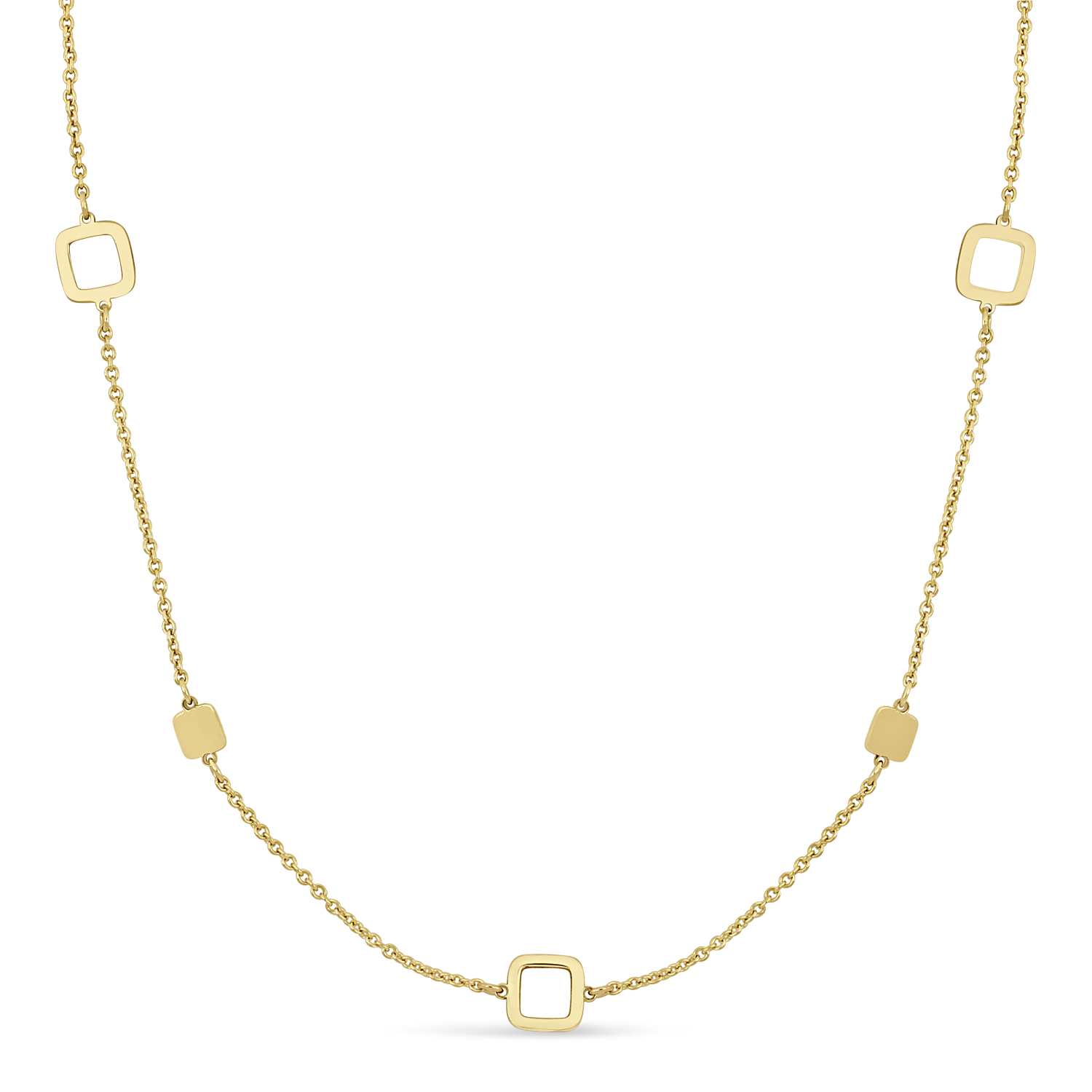 Fancy Squares Necklace 18k Yellow Gold