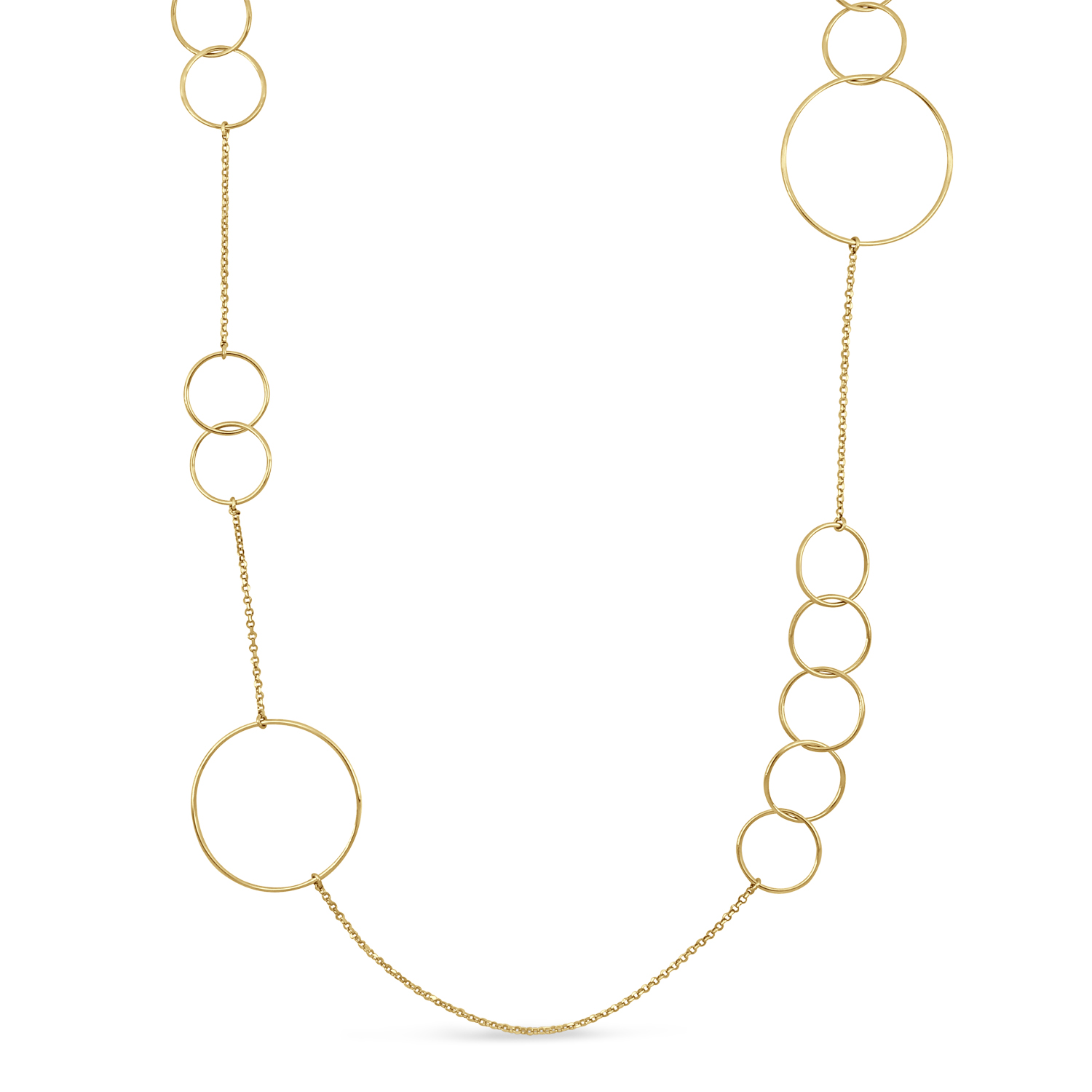 Multi-Circle Fancy Necklace 18k Yellow Gold