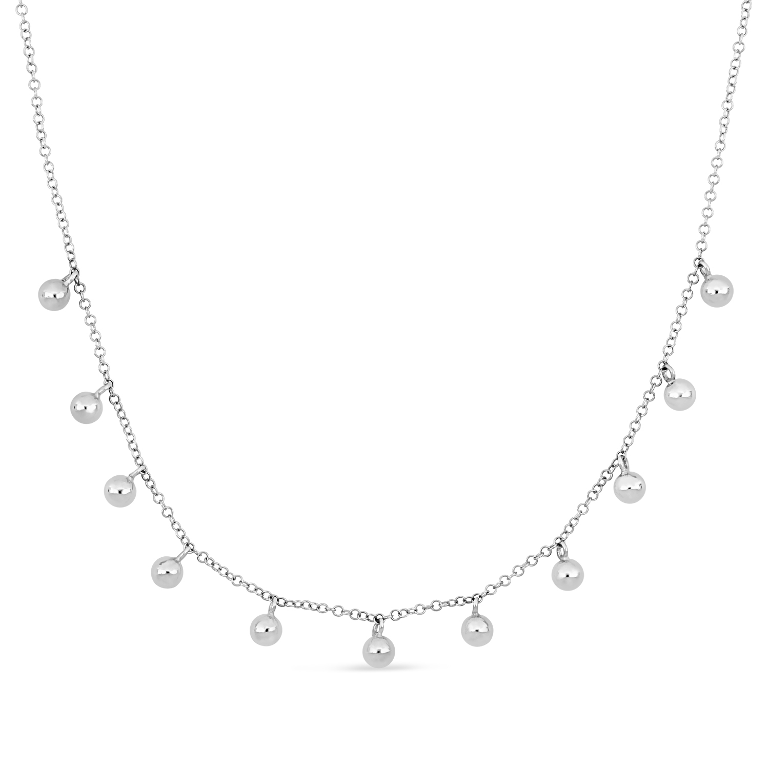 Fancy Spheres Necklace 18k White Gold